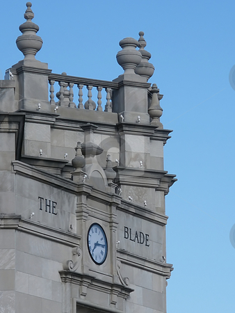 The Toledo Blade Building stock photo, The Toledo Blade Building. A very old and very odd angled building with a large clock in dowtown Toledo Ohio. It is the home of the main Toledo area newspaper .. The Toledo Blade. by Dazz Lee Photography