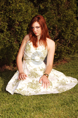 Girl sitting on grass. stock photo, Young red haired girl in a nice summer dress sitting on the grass and looking in the camera. by Horst Petzold