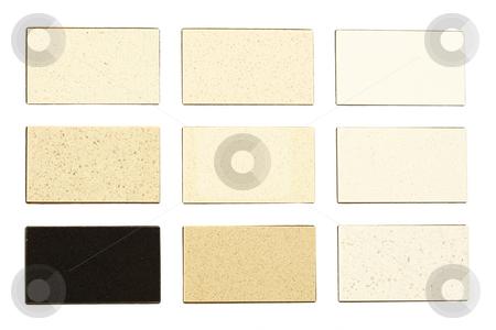 Granite samples for kitchen countertops stock photo, Granite samples for kitchen countertops over white by Ivelin Radkov