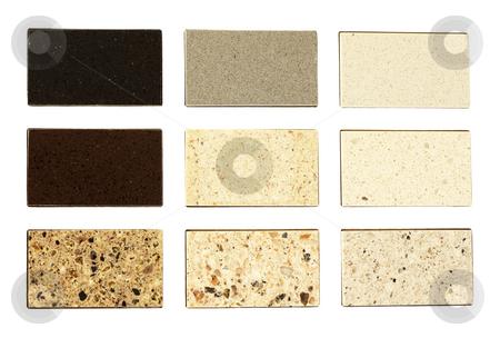 Stone samples for kitchen countertops stock photo, Stone samples for kitchen countertops over white by Ivelin Radkov