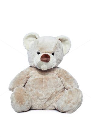 Cute Teddy bear over white background stock photo, Cute Teddy bear over white background by Ivelin Radkov