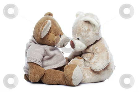 Two Teddy bears looking each other over white stock photo, Two Teddy bears looking each other over white background by Ivelin Radkov