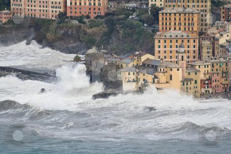 Storm in Camogli stock photo, Sea storm in camogli famous small town near Genova, italy by ANTONIO SCARPI
