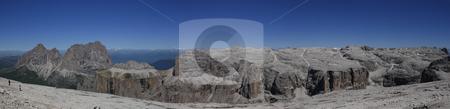 Sella group stock photo, Summer view os Sella mountain in Trentino, italian dolomiti by ANTONIO SCARPI