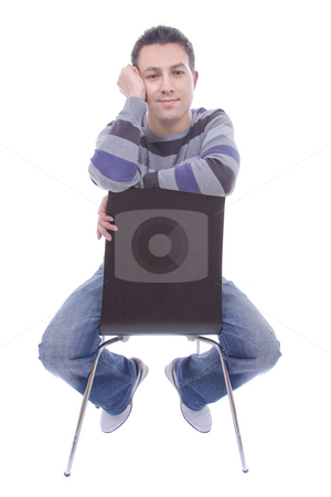 Sited young man white isolated stock photo, Sited young man white isolated by Cristovao Oliveira
