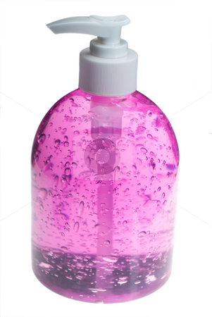 Pink hair gel bottle over white stock photo, Colorfull hair gel bottle over white background by Francesco Perre