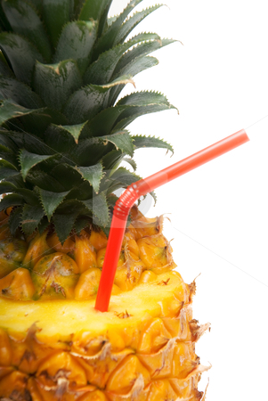 Pineapple drink stock photo, Ripe pineapple cutted on top with red straw by Francesco Perre