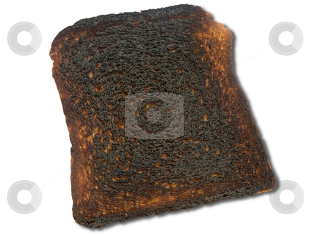 Burnt toast isolated on a white background. stock photo, Burnt toast isolated on a white background. by Stephen Rees