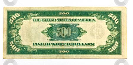 Old Five Hundred Dollar Bill Backside stock photo, Old Five Hundred Dollar Bill Backside by Dennis Crumrin