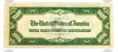Old One Thousand Dollar Bill Backside stock photo, Old One Thousand Dollar Bill Backside by Dennis Crumrin