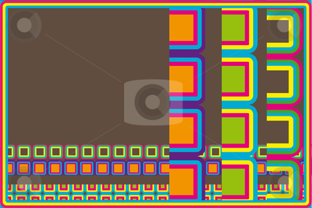 Retro squares stock vector clipart, Colorful retro squares on a brown background by Karin Claus