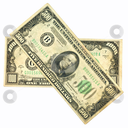Old One Thousand and Five Hundred Dollar Bill stock photo, Old One Thousand and Five Hundred Dollar Bill by Dennis Crumrin