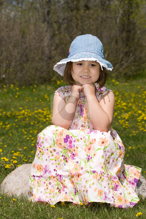 Young Girl Thinking stock photo, A young girl wearing a summer dress and thinking about something, as she sits on a rock outside by Richard Nelson
