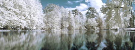Infrared panoramic  landscape stock photo, Infrared panoramic  landscape with trees reflecting in lake orton effect by Laurent Dambies