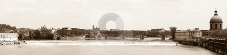 Toulouse panoramic view stock photo, Toulouse panoramic cityscape sepia toned from bridge of the Catalans by Laurent Dambies