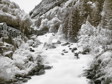 Mountain stream stock photo, Slow motion powerful mountain stream in the pyrenees mountains by Laurent Dambies