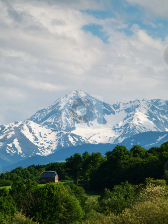 Mountain range stock photo, House cabin with pyrenees mountains range by Laurent Dambies