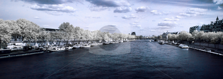 Paris panoramic view stock photo, Infrared paris panoramic view  over the Seine river from the Concorde bridge by Laurent Dambies