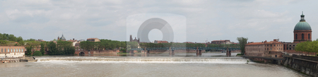 Toulouse panoramic view stock photo, Toulouse panoramic cityscape from bridge of the Catalans by Laurent Dambies