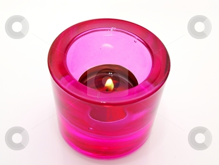 Candle, pink stock photo, A pink candle glass with a lit candle on white background by Arve Bettum