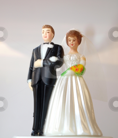 Wedding couple, plastic stock photo, Bride and groom in plastic model, posing for the camera by Arve Bettum