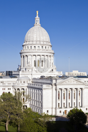 Wisconsin state capitol building, Madison stock photo, View from the southwest of the Wisconsin state capitol building in Madison. by Bart Everett