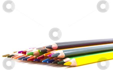 Colored pencils on white background stock photo, Colored pencils on white background by Jon Le-Bon
