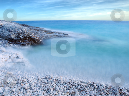 Adriatic shore stock photo, Slow shutter speed in the evening somewhere on the Adriatic beach. by Sinisa Botas