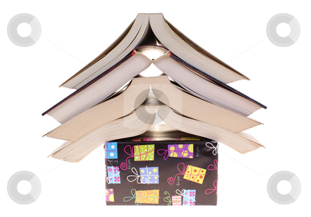 Books stock photo, Books arranged on colourful package  on white background by Jolanta Dabrowska