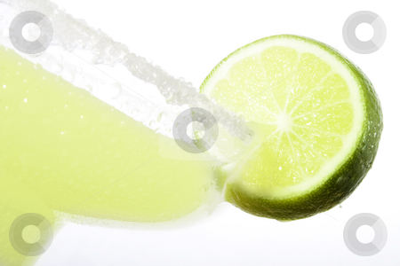 Margarita stock photo, High Key closeup shot of Margarita with a slice of lime by iodrakon