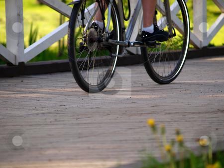 Biker stock photo, A person is crossing a wooden bridge on a bike in speed by Arve Bettum