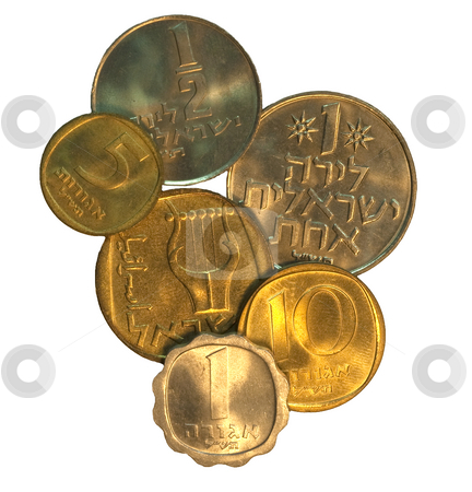 Set of Israel Coins stock photo, Set of Israel coins isolated on white by Dennis Crumrin