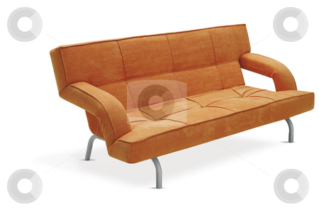 Sofa stock photo, This is a modern orange couch by Anastasia Tsoupa