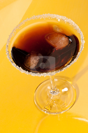Cocktail stock photo, Drink series: glass of cold cola cocktail with ice by Gennady Kravetsky