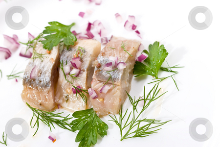 herring  stock photo, Macro picture of fillet herring with vegetables by Gennady Kravetsky