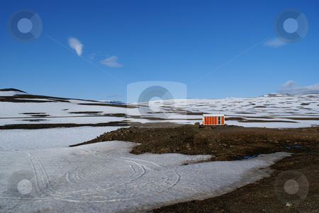 Mountain Hut stock photo, Emergency hut on the road from Egilsstadir to Seydifjordur, Iceland by Daniel Rosner