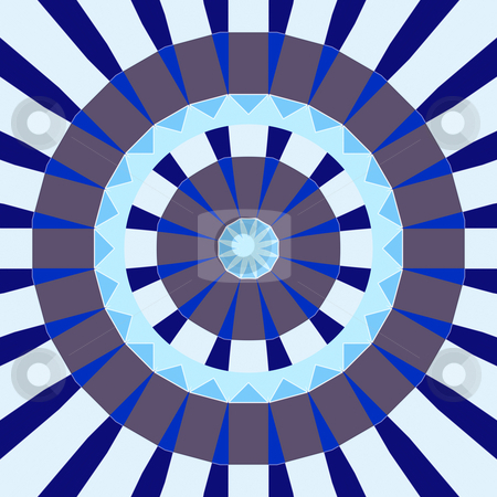 Wheel of fortune stock photo, Mandala like pattern of blue and grey abstract circle shapes by Wino Evertz
