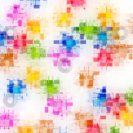 Grunge blocked pattern stock photo, White texture withbright colored  imprinted blur squares by Wino Evertz