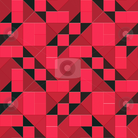 Red geometric mosaic stock photo, Seamless texture of vibrant triangles and squares by Wino Evertz