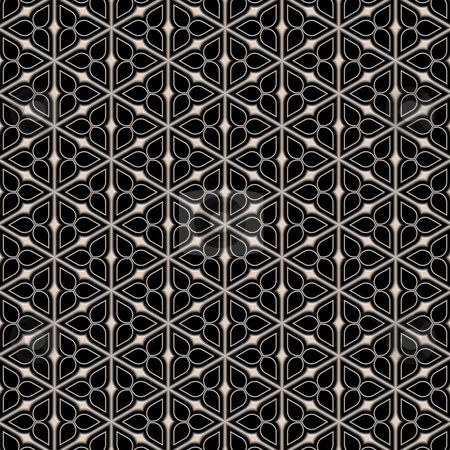 Metal victorian flower pattern stock photo, Seamless texture of metallic triangle shapes on black background by Wino Evertz