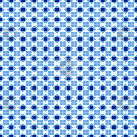 Swedisch blue pattern stock photo, Seamless texture with blue checks and little flags of Sweden by Wino Evertz