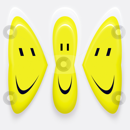 Friendship stock photo, Three smiley symbols talking to eachother in intimity by Wino Evertz