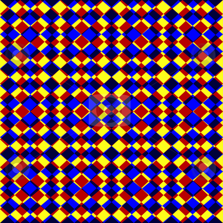 Bright grunge checked pattern stock photo, Seamless texture of red, blue and black stamped squares on yellow by Wino Evertz