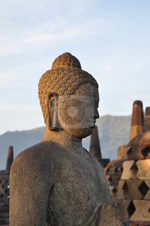 Borobudur Buddha stock photo, Buddha statue at Borobudur temple, Java, Indonesia by Daniel Rosner