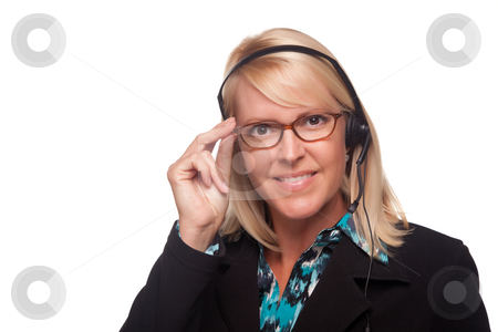 Beautiful Blonde Customer Support Woman with Headset stock photo, Beautiful Blonde Customer Support Woman with Headset Isolated on a White Background. by Andy Dean