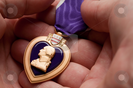 Man Holding Purple Heart War Medal stock photo, Man Holding Purple Heart War Medal in The Palm of His Hand. by Andy Dean