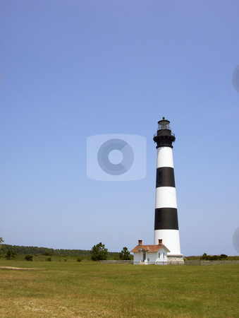 Bodie Island lighthouse on the outer banks of North Carolina stock photo, Black and white striped lighthouse at Bodie Island on the outer banks of North Carolina by Stephen Goodwin