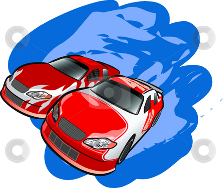 Auto Racing stock vector clipart, A digital illustration of two cars racing, by Erasmo Hernandez
