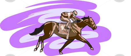 Horse Racing stock vector clipart, A digital illustration of a jockey riding a race horse. by Erasmo Hernandez