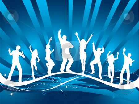 Party people stock vector clipart, Silhouettes of people dancing on decorative background by Kirsty Pargeter